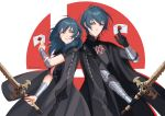 1boy 1girl aequorine armor armored_dress back-to-back blue_hair breasts byleth_(fire_emblem) byleth_(fire_emblem)_(female) byleth_(fire_emblem)_(male) cloak cowboy_shot envelope fire_emblem fire_emblem:_three_houses gauntlets grin letter looking_at_another medium_breasts medium_hair short_hair simple_background smile super_smash_bros. sword_of_the_creator tassel twitter_username vambraces white_background