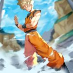 1boy 55level aqua_eyes blonde_hair boots day dougi dragon_ball dragon_ball_z dust_cloud highres male_focus muscle outdoors serious sleeveless solo son_gokuu spiky_hair super_saiyan wristband