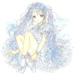 1girl anchor_symbol blue_eyes blue_hair crossed_ankles dress hair_ribbon knees_up long_hair original ribbon short_sleeves silver_ribbon simple_background sitting socks solo takanashi_tsubasa twintails very_long_hair white_background white_dress white_footwear white_legwear wrist_ribbon