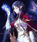 1girl belt black_hair cape dress gloves highres long_hair looking_at_viewer maplestory pointy_ears red_cape simple_background white_dress white_gloves