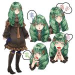 1girl boots bow closed_mouth fire_emblem fire_emblem:_three_houses flayn_(fire_emblem) garreg_mach_monastery_uniform green_eyes green_hair hair_ornament highres knee_boots long_hair long_sleeves multiple_views open_mouth parted_lips simple_background smile uniform white_background yachimata_1205