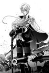 1boy ahoge army cannon cape cloak formal greyscale gun katana looking_at_viewer male_focus monochrome musket planted_sword planted_weapon runbel sheath sheathed suit sword touken_ranbu weapon yamanbagiri_chougi