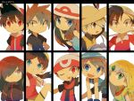 4boys 4girls :d ;d asymmetrical_bangs bangs baseball_cap black_eyes black_gloves black_hair blonde_hair blue_(pokemon) blue_eyes blue_shirt brown_hair collared_shirt crystal_(pokemon) cue_stick emerald_(pokemon) fangs flat_chest gloves gold_(pokemon) green_eyes grey_eyes hair_over_one_eye hat holding holding_cue_stick long_hair multiple_boys multiple_girls odamaki_sapphire one_eye_closed ookido_green open_mouth pokemon pokemon_special porkpie_hat red_(pokemon) red_eyes red_headwear red_skirt ruby_(pokemon) shirt shorts sidelocks signature silver_(pokemon) simple_background skirt sleeveless sleeveless_shirt smile straw_hat tokuura upper_body white_background white_headwear yellow_(pokemon) yellow_shorts