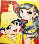 1boy 1girl bangs baseball_cap black_hair brown_eyes eyelashes green_eyes hat highres long_hair looking_at_viewer minapo moon_(pokemon) pikachu_ears pokemon pokemon_ears pokemon_special shirt sun_(pokemon) thank_you yellow_headwear yellow_shirt
