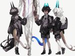 4boys animal_ears arjuna_(fate/grand_order) arjuna_alter black_eyes black_hair cat_ears child dark_skin dark_skinned_male fate/grand_order fate_(series) formal holding_hands horns kneehighs long_hair maka_(mksrw) male_focus multiple_boys multiple_persona necktie older short_hair shorts suit suit_jacket tail wavy_hair white_hair