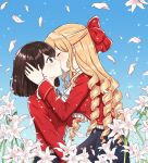 2girls bangs blonde_hair blush bob_cut bow brooch brown_eyes brown_hair claire_francois closed_eyes cravat day drill_hair facing_another flower frilled_jacket frilled_sleeves frills from_side hair_bow half_updo hand_in_hair hand_on_another's_head jacket jewelry kiss light_particles lily_(flower) long_hair long_sleeves looking_at_another multiple_girls petals plankton190602 profile red_bow red_jacket rei_taylor ringlets short_hair surprised watashi_no_oshi_wa_akuyaku_reijou white_neckwear yuri