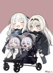 4girls ak-12_(girls_frontline) ak-15_(girls_frontline) an-94_(girls_frontline) baby baby_carrier blonde_hair blush closed_eyes defy_(girls_frontline) girls_frontline multiple_girls pacifier rpk-16_(girls_frontline) silver_hair tsuka younger