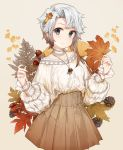 1girl acorn akishimo_(kantai_collection) alternate_costume bangs bare_shoulders blush brown_hair brown_skirt casual choker closed_mouth collarbone commentary_request eyebrows_visible_through_hair ginkgo_leaf gradient_hair grey_eyes highres holding holding_leaf jewelry kantai_collection leaf long_sleeves looking_at_viewer malachite maple_leaf multicolored_hair necklace pendant pinecone pleated_skirt puffy_long_sleeves puffy_sleeves shoes short_hair_with_long_locks silver_hair single_shoe skirt smile solo sweater symbol_commentary white_choker white_sweater