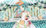 1girl aqua_hair dress green_eyes medium_hair monogatari_(series) monogatari_series_puc_puc ononoki_yotsugi orange_dress stage stage_lights strapless strapless_dress