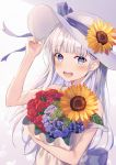1girl :d absurdres arm_up bangs bare_arms bare_shoulders blue_eyes blue_flower blush bouquet bow commentary_request dress eyebrows_visible_through_hair flower hand_on_headwear hat hat_bow hat_flower highres huge_filesize hyonee long_hair looking_at_viewer object_hug open_mouth original purple_bow red_flower red_rose rose silver_hair sleeveless sleeveless_dress smile solo strap_slip sun_hat sunflower upper_body upper_teeth very_long_hair white_dress white_headwear yellow_flower
