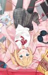 1girl absurdres akai_haato arms_up bangs bed bed_sheet black_legwear black_skirt blonde_hair blue_eyes blush book breast_pocket cellphone collared_shirt commentary_request computer eyebrows_visible_through_hair from_above game_console haaton_(haato_channel) hair_ornament hairclip headphones highres hololive jacket laptop long_hair long_sleeves looking_at_viewer lying miniskirt mousou_(mousou_temporary) neck_ribbon on_back on_bed open_book open_clothes open_jacket pantyhose parted_lips phone pink_jacket plaid plaid_skirt pleated_skirt pocket red_neckwear red_ribbon ribbon school_uniform shirt skirt sleeves_past_wrists smartphone smile solo stuffed_toy upside-down very_long_hair virtual_youtuber white_shirt