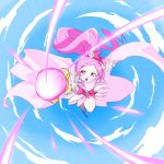 1girl :o beam bow cape clouds clover_hair_ornament commentary_request cure_blossom day dress floating_hair flying foreshortening gem hair_bow hair_ornament hanasaki_tsubomi heart heartcatch_precure! highres holding holding_staff leg_up long_hair looking_at_viewer magical_girl matatabi_(karukan222) open_mouth pink_eyes pink_hair ponytail precure sky solo speed_lines staff teeth v-shaped_eyebrows very_long_hair wrist_cuffs
