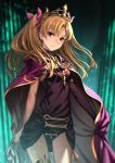 1girl asymmetrical_legwear asymmetrical_sleeves bangs between_breasts black_legwear black_leotard blonde_hair bow breasts cape closed_mouth detached_collar earrings ereshkigal_(fate/grand_order) fate/grand_order fate_(series) gold_trim hair_bow highres hoop_earrings infinity jewelry leotard long_hair looking_at_viewer medium_breasts parted_bangs porikeracchou red_bow red_cape red_eyes single_sleeve single_thighhigh skull spine thigh-highs thighs tiara two_side_up