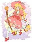 1girl alternate_costume blonde_hair blue_eyes brooch broom commentary crescent cross-laced_clothes dress earrings elbow_gloves full_body gloves hat high_heels highres holding jewelry jivke koopa_paratroopa lips long_hair looking_at_viewer mario_(series) mushroom pink_dress pink_headwear princess_peach puffy_short_sleeves puffy_sleeves red_footwear shoes short_sleeves signature star thigh-highs white_gloves white_legwear witch witch_hat yoshi