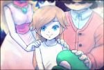 2girls bangs blonde_hair blue_eyes crown dress looking_at_viewer luigi mario mario_(series) multiple_girls orange_hair pink_dress princess_peach rosalina smile super_mario_galaxy white_dress