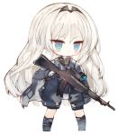 1girl :o an-94 an-94_(girls_frontline) assault_rifle bangs black_legwear black_shorts blue_eyes blue_gloves blue_jacket blush chibi commentary_request eyebrows_visible_through_hair full_body girls_frontline gloves grey_footwear gun headpiece holding holding_gun holding_weapon jacket kneehighs kotatu_(akaki01aoki00) long_hair long_sleeves object_namesake parted_lips rifle shorts simple_background solo standing very_long_hair weapon white_background white_hair