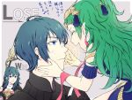 1boy 2girls blue_eyes blue_hair byleth_(fire_emblem) byleth_(fire_emblem)_(female) byleth_(fire_emblem)_(male) closed_eyes closed_mouth fire_emblem fire_emblem:_three_houses from_side green_hair grey_background hair_ornament holding long_hair multiple_girls open_mouth pointy_ears polearm ribbon_braid short_hair simple_background smile sothis_(fire_emblem) tiara totototope weapon