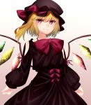 1girl absurdres black_dress blonde_hair bow bowtie crystal dress flandre_scarlet hat hat_bow highres katsukare looking_at_viewer puffy_sleeves red_bow red_eyes red_neckwear short_hair solo the_embodiment_of_scarlet_devil touhou wings