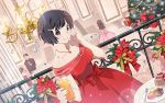 1girl blush chandelier christmas_tree cup dress drinking_glass food hair_ornament hairclip hanekawa_tsubasa jewelry macaron monogatari_(series) monogatari_series_puc_puc necklace red_dress