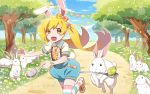1girl animal_ears blonde_hair bunny_tail easter easter_egg egg fangs long_hair monogatari_(series) monogatari_series_puc_puc oshino_shinobu overall_shorts overalls rabbit rabbit_ears racing spoon tail thigh-highs twintails