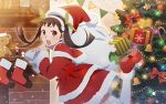 1girl christmas christmas_ornaments christmas_tree gift hachikuji_mayoi hair_ribbon hat lowres medium_hair monogatari_(series) monogatari_series_puc_puc ribbon santa_costume santa_hat solo thigh-highs twintails