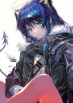 1girl aoki_(fumomo) arknights bangs black_horns black_jacket blue_eyes blue_hair commentary_request fur-trimmed_jacket fur_trim hair_between_eyes halo highres horns jacket knee_up long_hair long_sleeves looking_at_viewer mostima_(arknights) open_clothes open_jacket parted_lips shirt simple_background solo strap tail upper_body white_background white_shirt