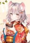1girl 2020 animal_ears bangs beige_background bell bell_collar blush bowl chopsticks collar commentary_request eating eyebrows_visible_through_hair floral_print grey_hair hair_ornament highres holding holding_chopsticks japanese_clothes kimono looking_at_viewer medium_hair mochi momoko_(momopoco) mouse_ears mouse_hair_ornament mouse_tail obi original red_eyes red_kimono ribbon sash shide solo tail tail_ribbon upper_body