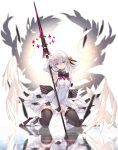 1girl angel_wings armpits bare_shoulders black_legwear black_ribbon blue_eyes blurry breasts closed_mouth commentary_request detached_sleeves dress expressionless feathered_wings feathers hair_between_eyes hair_ribbon hand_on_own_head head_tilt highres holding holding_weapon kneeling lance light_ray long_sleeves looking_at_viewer medium_hair nanananana neck_ribbon orange_ribbon original polearm reflection ribbon shoes short_dress shoulder_cutout small_breasts solo thigh-highs weapon white_dress white_footwear white_hair wings zettai_ryouiki