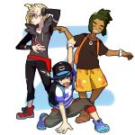 3boys ^_^ backpack bag baseball_cap black_headwear black_pants black_shirt blonde_hair blue_eyes closed_eyes dark_skin full_body gladio_(pokemon) green_eyes green_hair grin hat hau_(pokemon) hk_(nt) long_sleeves looking_at_viewer male_focus multiple_boys pants pokemon pokemon_(game) pokemon_sm pose red_footwear shirt short_sleeves shorts smile standing tied_hair yellow_shorts you_(pokemon)