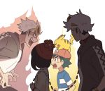 1girl 3boys angry baseball_cap beanie black_eyes black_hair blue_shirt brown_eyes creature dual_persona eye_contact fangs furrowed_eyebrows gen_1_pokemon guzma_(pokemon) hat leash looking_at_another mizuki_(pokemon) multiple_boys pikachu pokemon pokemon_(anime) pokemon_(creature) pokemon_(game) pokemon_on_head pokemon_sm pokemon_sm_(anime) satoshi_(pokemon) shirt short_sleeves ssalbulre sunglasses white_hair