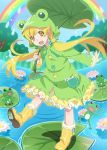 1girl boots frog frog_hood lily_pad long_hair monogatari_(series) monogatari_series_puc_puc oshino_shinobu rainbow