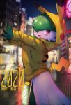 1girl 2020 animal_ears animal_hood arms_up bangs blurry blurry_background blush blush_stickers cosplay drawstring english_text fake_animal_ears fake_tail gardevoir gen_1_pokemon gen_3_pokemon glowing green_hair green_skin hair_over_one_eye happy happy_new_year highres hood hoodie kashu_(hizake) looking_to_the_side new_year night number open_mouth outdoors outstretched_arm pikachu pikachu_(cosplay) pikachu_tail poke_ball_symbol poke_ball_theme pokemon pokemon_(creature) pokemon_(game) pokemon_center pokemon_swsh red_eyes shiny shiny_hair short_hair smile solo standing sweater symbol_commentary tail two-tone_skin white_skin yellow_sweater