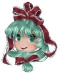 1girl absurdres green_eyes green_hair hair_ribbon highres kagiyama_hina looking_at_viewer red_ribbon ribbon short_hair simple_background smile touhou yukkuri_shiteitte_ne yuuren_kyouko