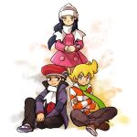1girl 2boys beanie black_pants blonde_hair boat brown_footwear commentary_request crossed_arms diamond_(pokemon) dress full_body green_scarf hat hk_(nt) long_hair looking_at_viewer multiple_boys pants pearl_(pokemon) pink_dress platinum_berlitz pokemon pokemon_special poketch purple_footwear scarf shoes simple_background sitting standing violet_eyes watch watch watercraft white_background white_headwear white_scarf winter_clothes yellow_eyes