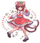 1girl :d animal_ears bandaid bandaid_on_leg bangs black_footwear blush bow bowtie brown_eyes brown_hair cat_ears chen claw_pose commentary earrings eyebrows_visible_through_hair fang flower full_body green_headwear hand_up hat highres jewelry long_sleeves looking_at_viewer masanaga_(tsukasa) miniskirt mob_cap multiple_tails nekomata open_mouth red_skirt red_vest shirt shoes short_hair simple_background skirt smile socks solo symbol_commentary tail touhou two_tails vest white_background white_bow white_flower white_legwear white_neckwear white_shirt