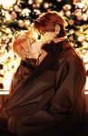 2boys backlighting blonde_hair brown_hair city_lights clothes_pull covered_mouth eye_contact fate/stay_night fate_(series) gilgamesh gloves incoming_kiss kotomine_kirei looking_at_another maka_(mksrw) male_focus multiple_boys night winter_clothes yaoi