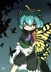 1girl antennae artist_name bloomers blue_hair blush bug butterfly butterfly_wings dress dress_lift eternity_larva gradient gradient_background hair_between_eyes highres huxiao_(mistlakefront) insect leaf leaf_on_head lifted_by_self smile solo symbol-shaped_pupils tongue tongue_out touhou underwear wings yellow_eyes