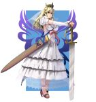 1girl bangs blonde_hair border bow breasts crown detached_sleeves dress eyebrows_visible_through_hair full_body green_eyes highres large_breasts long_hair masao original outside_border pink_bow princess puffy_short_sleeves puffy_sleeves scabbard sheath short_sleeves solo standing sword veil weapon white_border white_dress