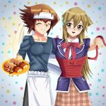 arms_behind_back background blonde_hair blue_jacket blue_sweater blush bound brown_hair chef cosplay couple cute embarrassed food happy long_hair multicolored_hair nervous red_ribbon ribbon school_uniform shokugeki_no_soma short_hair sincity2100 tenjouin_asuka tied_up yellow_eyes yuu-gi-ou yuu-gi-ou_gx yuuki_juudai