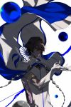 1boy arjuna_(fate/grand_order) black_eyes black_hair blurry cape dark_skin dark_skinned_male depth_of_field elbow_gloves fate/grand_order fate_(series) floating floating_object gloves maka_(mksrw) male_focus orb solo white_gloves