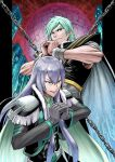 2boys abs aqua_hair bangs blue_eyes cape chain clenched_hands closed_mouth ear_piercing evil_smile fresh_precure! frown gloves green_eyes grey_hair hair_between_eyes hands_together highres ito_user_2810a long_hair looking_at_viewer looking_away machine male_focus multiple_boys muscle open_mouth orb piercing precure smile souler_(fresh_precure!) swept_bangs thick_eyebrows toned v-shaped_eyebrows wester_(fresh_precure!) wrist_cuffs