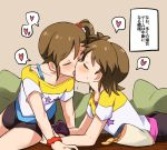 2girls black_shorts blush brown_hair chips closed_eyes controller ear_blush eyebrows_visible_through_hair food french_kiss futami_ami futami_mami game_controller heart highres holding_game_controller idolmaster idolmaster_(classic) incest kiss miiii multiple_girls red_scrunchie saliva scrunchie short_hair short_sleeves shorts siblings side_ponytail sisters spoken_heart tongue tongue_out translation_request twincest twins wrist_scrunchie yuri