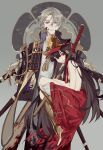 1boy 1girl armor black_hair blood blood_on_face bloody_clothes brown_hair carrying clothed_male_nude_female crossover empty_eyes fate_(series) gloves hat heshikiri_hasebe instocklee japanese_armor katana koha-ace nude oda_nobunaga_(fate) oda_nobunaga_(fate)_(all) red_eyes shako_cap sheath sheathed shoulder_armor smile sode sword touken_ranbu violet_eyes weapon white_gloves