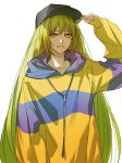 1other adjusting_clothes adjusting_hat androgynous baseball_cap contemporary enkidu_(fate/strange_fake) fate/strange_fake fate_(series) green_hair hat hood hoodie jacket long_hair maka_(mksrw) solo very_long_hair yellow_eyes yellow_jacket