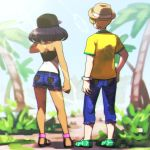 1boy 1girl bare_shoulders baseball_cap blonde_hair blue_pants blue_shorts day denim denim_shorts dexio_(pokemon) from_behind green_footwear hat hk_(nt) jeans medium_hair outdoors pants pokemon pokemon_(game) pokemon_sm purple_hair shirt short_shorts shorts sina_(pokemon) tree yellow_shirt