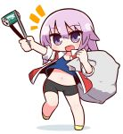 1girl :d alice_gear_aegis bag bangs bike_shorts black_shorts blue_shirt blush can chibi collarbone commentary_request eyebrows_visible_through_hair full_body hair_between_eyes highres hirasaka_yotsuyu holding holding_bag jacket looking_at_viewer naga_u navel notice_lines open_clothes open_jacket open_mouth outstretched_arm purple_hair red_jacket shadow shirt short_shorts short_sleeves shorts smile solo standing standing_on_one_leg trash_bag violet_eyes white_background yellow_footwear