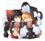 2girls :d ^_^ ascot bangs black_gloves black_hair black_headwear blonde_hair blush bow brown_eyes brown_scarf cheunes closed_eyes commentary_request cropped_torso detached_sleeves eyebrows_visible_through_hair frilled_bow frills gloves hair_between_eyes hair_bow hair_tubes hakurei_reimu hands_up hat hat_bow kirisame_marisa long_hair long_sleeves looking_at_another multiple_girls open_mouth puffy_sleeves red_bow scarf shared_scarf sidelocks smile touhou upper_body very_long_hair white_background white_bow witch_hat yellow_neckwear