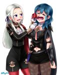 2girls artist_name blue_hair byleth_(fire_emblem) byleth_(fire_emblem)_(female) crying edelgard_von_hresvelg female_my_unit_(fire_emblem:_fuukasetsugetsu) fire_emblem fire_emblem:_fuukasetsugetsu fire_emblem:_three_houses fire_emblem_16 gloves intelligent_systems lips long_hair looking_at_another my_unit_(fire_emblem:_fuukasetsugetsu) navel nintendo open_eyes open_mouth rayhak ribbon sad tagme tears violet_eyes white_background white_hair