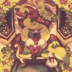 bounsweet creature flower full_body gen_7_pokemon looking_at_viewer maru_(umc_a) no_humans pokemon pokemon_(creature) red_eyes sitting steenee throne tsareena