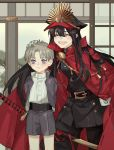 1boy 1girl ^_^ artist_name belt black_hair blush brown_hair cape child closed_eyes crossover fate_(series) gloves hand_on_another's_head hand_on_hip hat heshikiri_hasebe instocklee koha-ace oda_nobunaga_(fate) oda_nobunaga_(fate)_(all) open_mouth shako_cap shorts sliding_doors smile touken_ranbu violet_eyes white_gloves younger